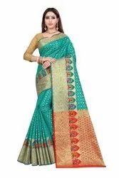 Kanjivaram Silk Weaving Saree  With Blouse Piece