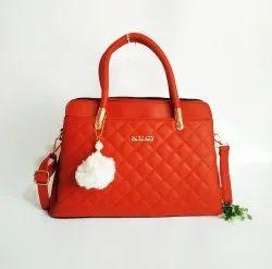 Hand Handled Pink - Red- pich Ladies Handbag, 700 Gm, Size: Hight 10 Inch Wide 11 Inch