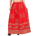 Printed Long Red Jaipuri Skirt