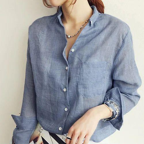 64fb16f8b Ladies Linen Shirt