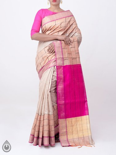 06e721c8fc Tussar Silk - Pure Handloom Muga Tussar Silk Checks Saree With Tassels  Manufacturer from Hyderabad