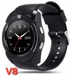 Black Unisex V8 Bluetooth Smart Watch