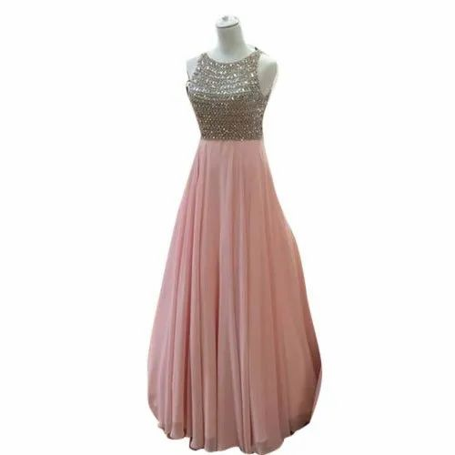 Sleeveless Ladies Party Wear Sequin Long Gown, Size: M-xxl