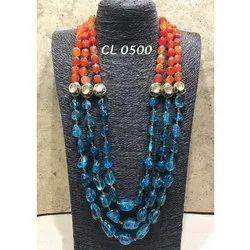 Cl Code Tourmoline & Square Agate Stone Contemporary Fashion Necklace