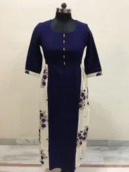 Lavanya Blue Cotswool Floral Printed A-Line Kurti
