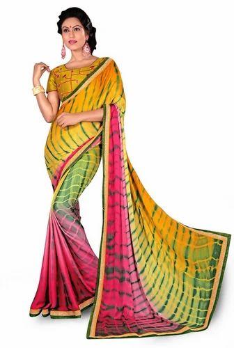 3315ba014e Shibori Crepe Print Multi Colour Saree With Embroidery Work at Rs ...