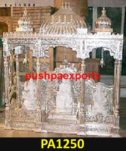7ee0dc7eb Silver Sheet Wooden Carved Home Pooja Mandir - Pushpa Exports ...
