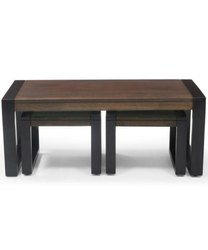 Set of Wooden Coffee Table with Stools for Home