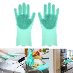 Plain Green Rubber Silicon Gloves For Kitchen, Size: Free Size