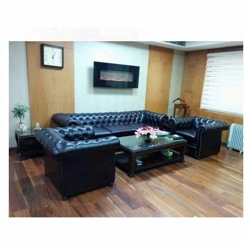 Wood Black 5 Seater Leather Sofa Set, Rs 4000 /seat, Chetan ...
