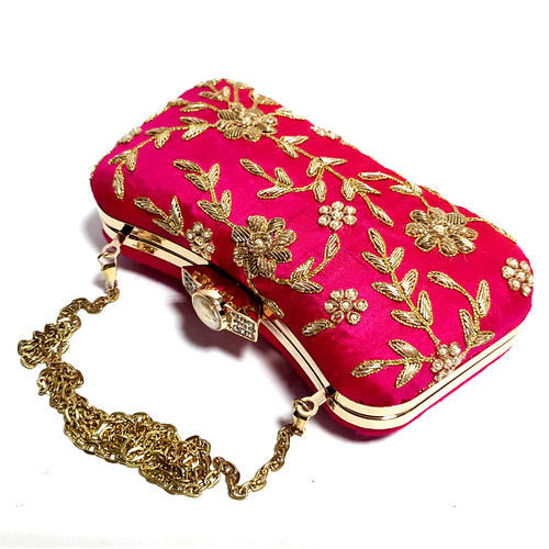 108b88a80 Wedding Party Clutch Handmade Zardosi Hand Work Bridal Box Clutch (Hot Pink)