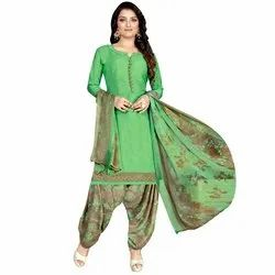 Rajnandini Light Green Crepe Printed Unstitched Dress Material