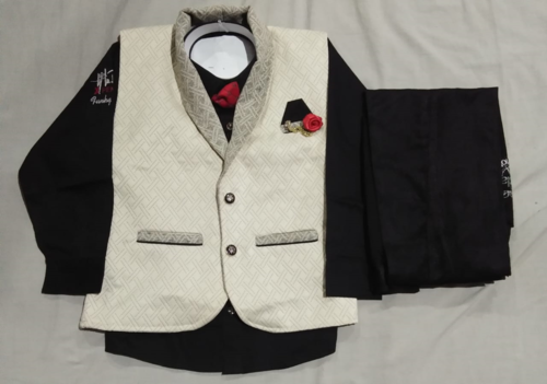 Boys Black N White Baba Suit