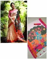 Party Wear Linen Saree with Zari Patta