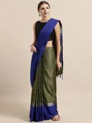 Blue & Green Solid Linen Blend Silk Saree with Blouse Piece