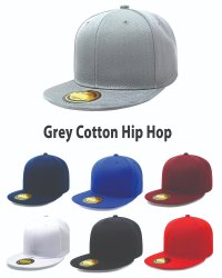 Grey Cotton Hip Hop Caps