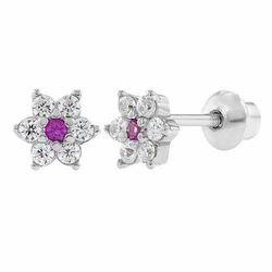 Ladies Silver Diamond Earring