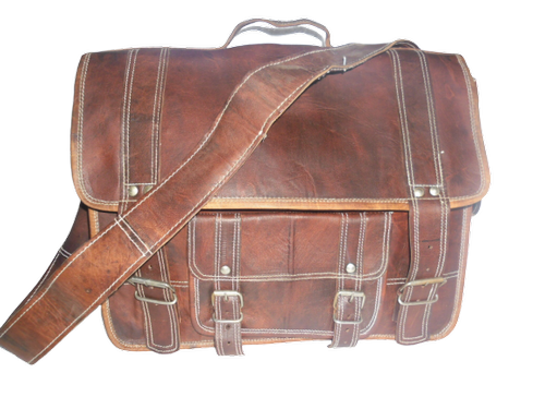 Vintage Leather Laptop Office Bag, Size: 15 x 11 x 5 inch