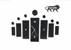 Acrylic Fancy Analog Wall Clock for Living Room, Bedroom Wall, Home and Office - Black