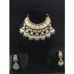 Ladies Bridal Stylish Gold Natural Daimond Polki Stone Necklace Set