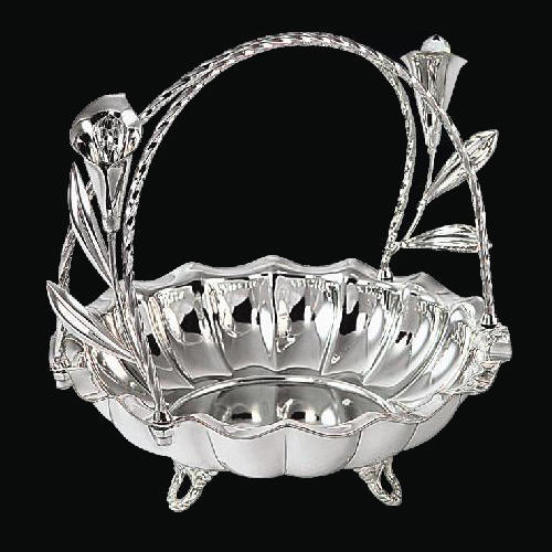 Aashirwad Jewellers Silver Round Basket with Crystal