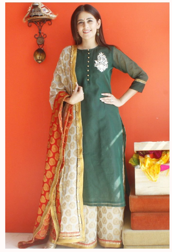 13cc3f435a4 Green 46 Inches Bottle Embroidered Kurti With Banarsi Palazzos And Royal  Affair Dupatta
