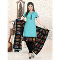 Black Unstitched Cotton Kalamkari Salwar Kameez