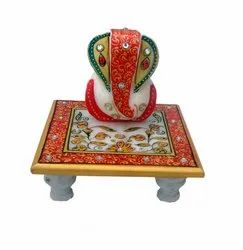 Square Traditional Handicraft Paradise Marble Chowki, for Decoration