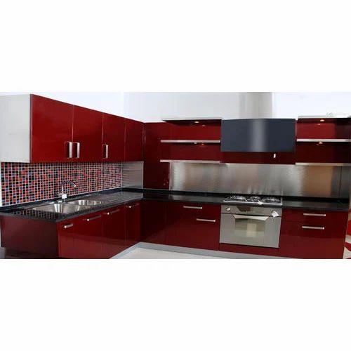 Cherry And White Wooden Modular Kitchen, Cherry And White Kitchen Cabinets