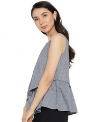 Women Grey Solid A-Line Dobby Top