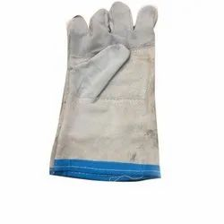 White Full Finger Leather Safety Gloves, Size: Free