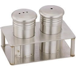 Silver Salt And Pepper Shaker Set With Tray