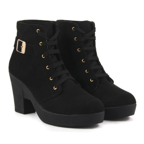 80c52f76f1 Black Block Heel Boots Women Suede Leather High Heel Boots, Size: 3 - 9