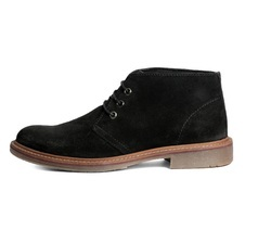 Men's Black Suede Leather Tpr Sole Lace-up Shoes, Size: 40 - 45