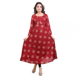 Rayon Anarkali Fancy Long Gown, Wash Care: Machine wash