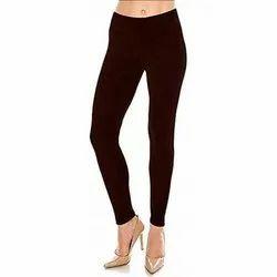 Brown Lycra Cotton Ankle Length Leggings