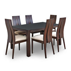 Brown Rubber Wooden Dining Table Set