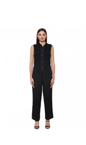 62bbec387070f ... Neck Top in black cotton from ME Source · Black Shirt Collar Sleeveless  Jumpsuit at Rs 2050 piece Womens
