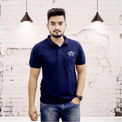 Mens Cotton Blue Collar Neck T-Shirt, Size: S to XXL