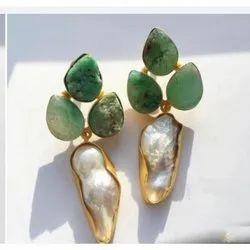 Dangler green,white and golden Stone Imitation Earring