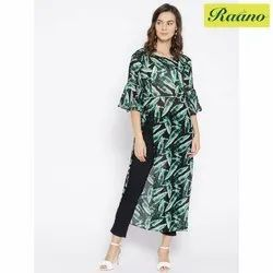 Raano Women Black and Green Printed A-Line Kurta