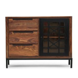 Brown Wooden Sideboard, Size: 134 (l) X 51 (w) X 98 (h) Cm