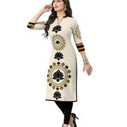 3/4th Sleeve Printed Kurtis, Size: S-L
