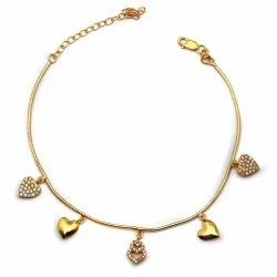 OE0632-05 925 Sterling Silver Gold Plated Five Hearts Anklet