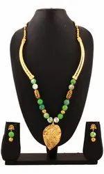 SPJ036 Gemstones Antique Beads Gold Leaf Shaped Pendant