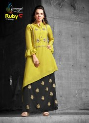 Palazzo Ruby Ladies Muslin Designer Kurti With Silk Bottom D.No. 1852