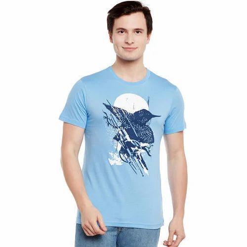 6c13566f7 Light Blue Cotton Mens Round Neck Printed T-Shirt, Rs 170 /piece ...