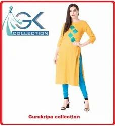 Ladies Rayon Mustard Embroidery Kurti