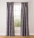 Checked Cotton Curtain, For Home, Size: 7-8 Feet (length)