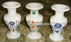 Antique Marble Inlay Flower Vase